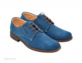 Poze Pantofi barbati piele naturala velur Albastri casual-office - cod P66