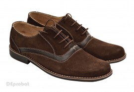 Poze Pantofi barbati piele naturala velur maro casual-eleganti cu siret cod P17