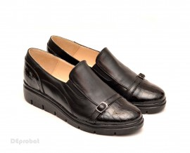 Poze Pantofi dama negri sport-casual din piele naturala cu elastic cod P101