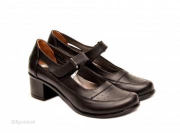 Poze Pantofi dama piele naturala negri cu platforma cod P135N - Made in Romania