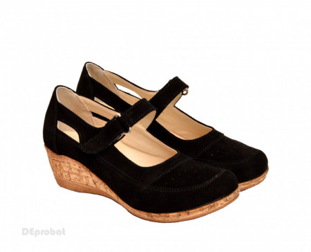 Pantofi dama piele naturala negri velur cu platforma cod P87NVEL - Made in Romania