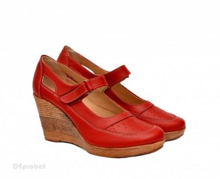 Poze Pantofi dama piele naturala rosii cu platforma cod P74R - Made in Romania