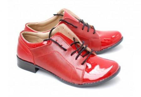 Poze Pantofi dama piele naturala rosii cu siret cod P91 - LICHIDARE STOC 40