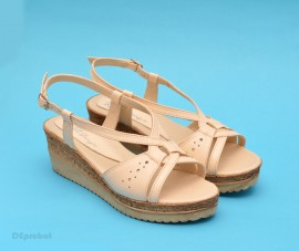 Poze Sandale bej dama din piele naturala cu platforma cod S45