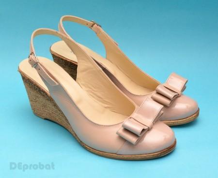 Poze Sandale dama bej piele naturala cu funda cod S39 - LICHIDARE STOC 39, 40