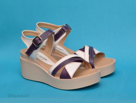 Poze Sandale dama mov cu alb cu platforma de 7 cm cm din piele naturala cod S58