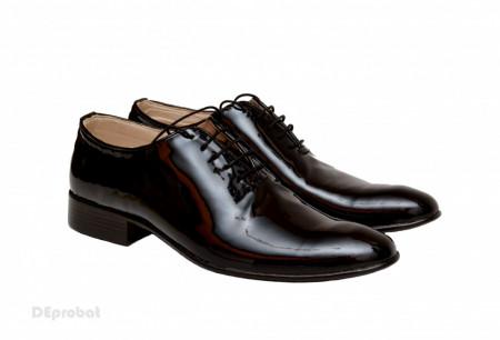 Poze Pantofi barbatesti negri lacuiti din piele naturala casual-eleganti cod P65NL - Editie de LUX