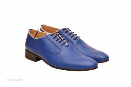 Pantofi barbati piele naturala albastri casual-eleganti cod P165A - Editie de LUX