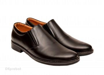 Poze Pantofi barbati piele naturala negri casual-eleganti cu elastic cod P132