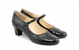 Pantofi dama eleganti din piele naturala negri cu toc de 5 cm cod P118N