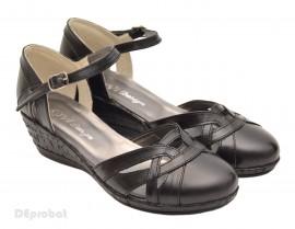 Poze Pantofi dama piele naturala negri cu bareta cod P36