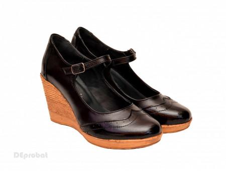 Poze Pantofi dama piele naturala negri cu platforma cod P171N
