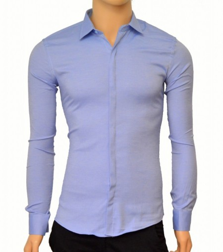 Poze Camasa Slim Fit Albastra eleganta - Camasa albastra marime mare ZR80 (Marimi XL-5XL)