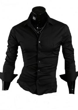 Poze Camasa Slim Fit Neagra bumbac - Camasa neagra barbati slim fit ZR15