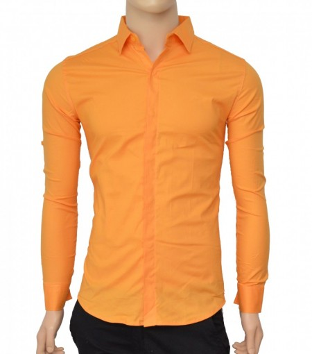 Poze Camasa Slim Fit orange casual-eleganta cu nasturi ascunsi - Camasa orange barbati ZR75