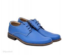 Poze Pantofi albastru electric barbati piele naturala casual-office - cod P77
