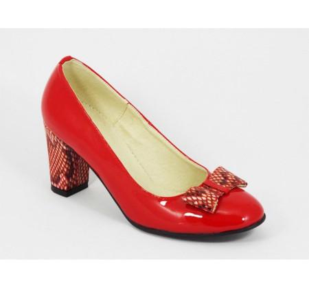 Poze Pantofi dama eleganti din piele naturala rosii lacuiti cod P324