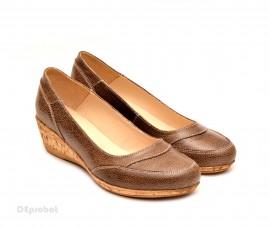 Poze Pantofi dama piele naturala maro cu platforma cod P109