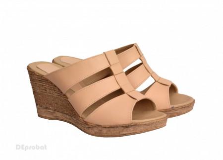 Poze Papuci dama bej din piele naturala cu platforma cod PP15BEJ