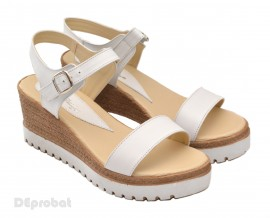 Poze Sandale dama albe cu platforma din piele naturala cod S24ALB