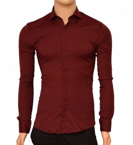 Poze Camasa Slim Fit Bordoux eleganta - Camasa bordeaux ZR77
