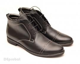 Poze Ghete barbati piele naturala Negre casual-elegante cu siret cod G12