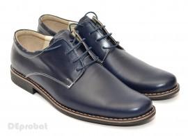 Poze Pantofi barbati piele naturala bleumarin casual-eleganti cu siret cod P23