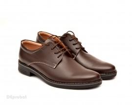 Pantofi barbati piele naturala maro casual-eleganti cu siret cod P69M