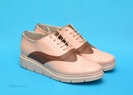 Poze Pantofi dama bej casual-eleganti din piele naturala cod P174