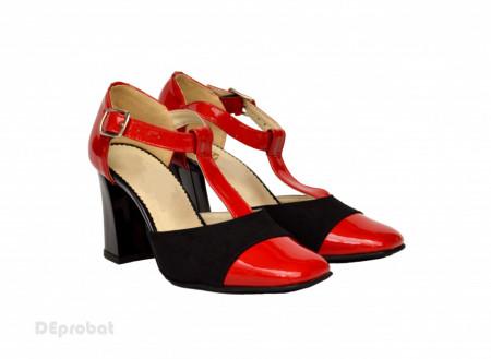 Pantofi dama cu toc aplicat din piele naturala cod P349