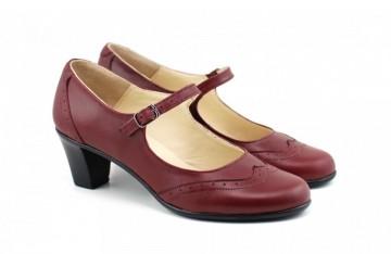 Poze Pantofi dama eleganti din piele naturala grena cu toc de 5 cm cod P143GR