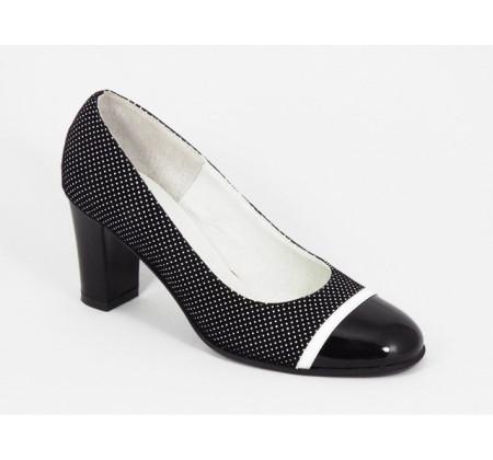 Poze Pantofi dama eleganti din piele naturala negri cu buline cod P315