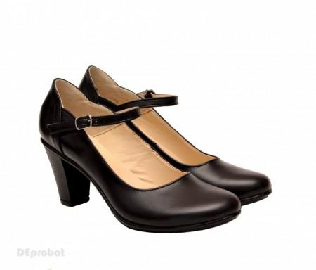 Poze Pantofi dama eleganti din piele naturala negri cu toc de 7 cm cod P153N
