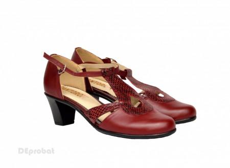 Poze Pantofi dama grena cu toc aplicat din piele naturala cod P351