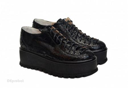 Poze Pantofi dama negri cu talpa inalta 5,5 cm din piele naturala cod P176
