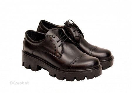 Poze Pantofi dama negri lucrati manual din piele naturala cod P175