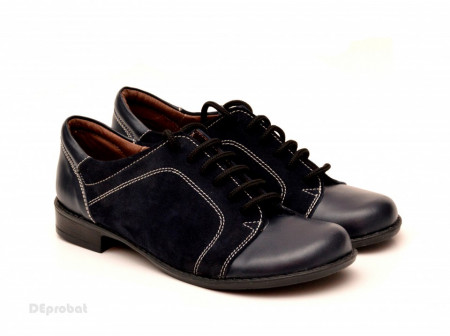 Poze Pantofi dama piele naturala negri cu siret cod P95N - LICHIDARE STOC 38
