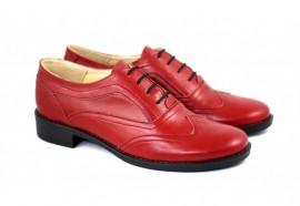 Pantofi dama piele naturala rosii cu siret cod P21R - Made in Romania