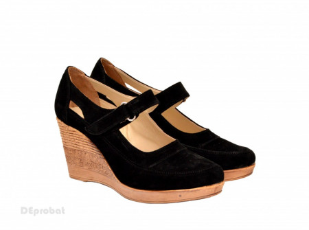 Poze Pantofi dama piele naturala velur negri cu platforma cod P74NVEL - LICHIDARE STOC 35