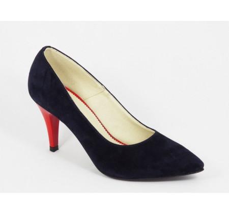 Poze Pantofi stiletto dama eleganti din piele naturala bleumarin velur cod P312