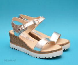 Poze Sandale dama argintii din piele naturala cu platforma cod S20