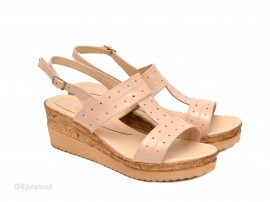 Poze Sandale dama bej lacuite din piele naturala cu platforma cod S47