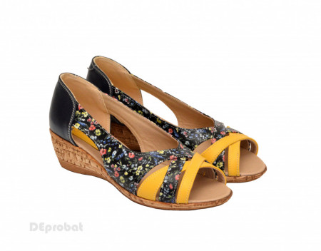 Sandale dama multicolore cu platforma din piele naturala cod S63