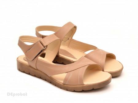 Poze Sandale dama piele naturala bej cu talpa joasa cod S46 - LICHIDARE STOC 36