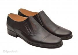 Poze Pantofi barbati piele naturala negri casual-eleganti cu elastic cod P16EL