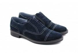Poze Pantofi bleumarin barbati piele naturala velur casual-office - cod P84