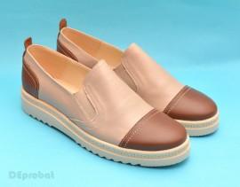 Pantofi dama bej casual-eleganti din piele naturala cu elastic cod P54