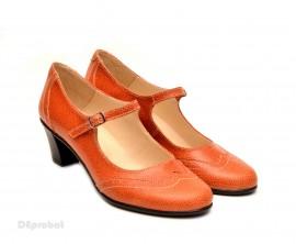 Poze Pantofi dama eleganti din piele naturala orange cu toc de 5 cm cod P106ORG