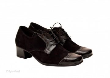 Pantofi dama eleganti negri din piele naturala cu toc 4 cm cod P139N
