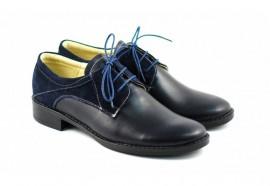 Poze Pantofi dama piele naturala bleumarin cu siret cod P89BL - Made in Romania